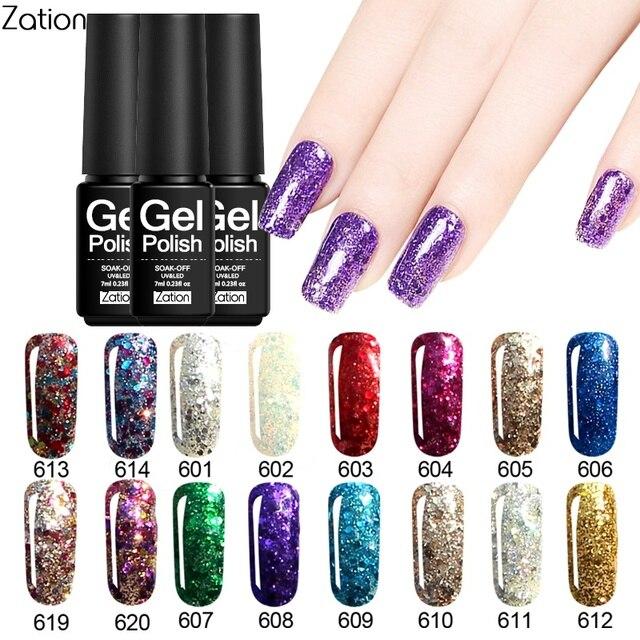 Zation Gel Nail Polish Set Varnish Diamond Nail Gel Kit Top Base ...