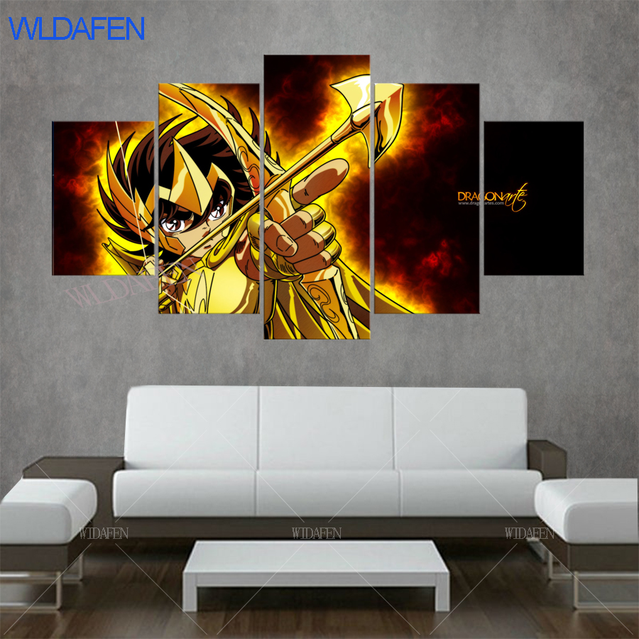 Anime Poster Zodiac Knights Painting HD Printed 5 Panel