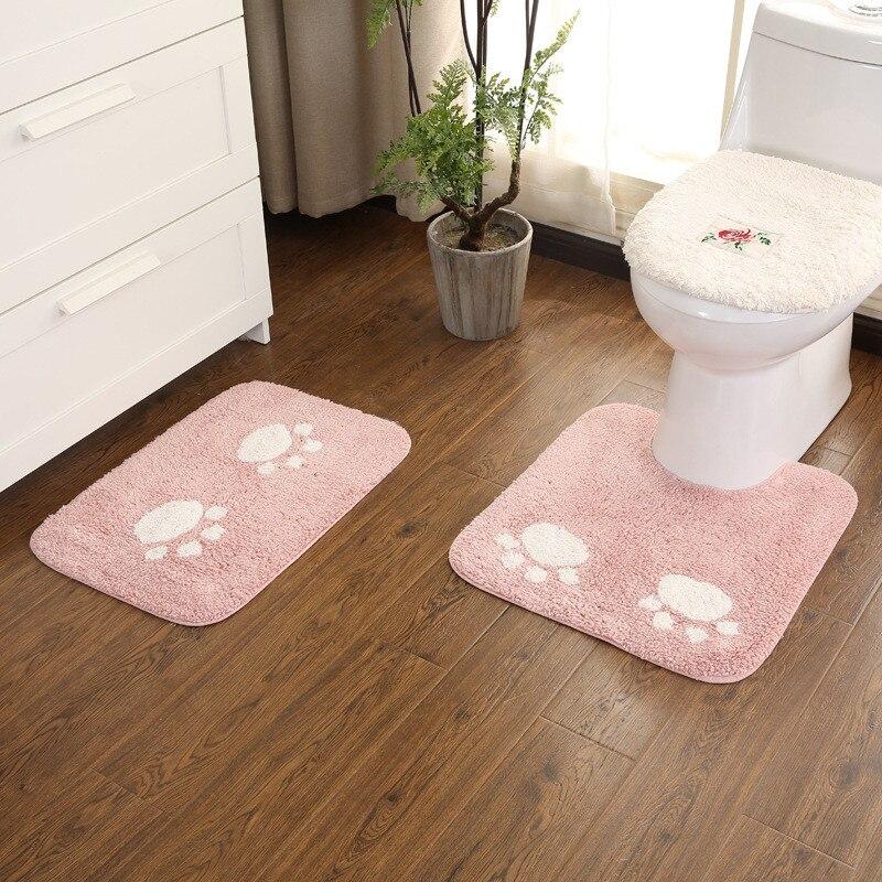 Chat Griffe Salle De Bains Tapis Deux-pièce ensemble DoorwayMat U-type toilette coussin salle de bains paillasson lavable à La Main fait en peluche de toilette doux tapis