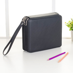 Image 3 - Cute Stationery 127/168 Holes School Pencil Case PU Leather Pencils Pouch Bag Folded Sketch Brush Case With Zipper Art Supplies