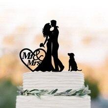 Забавный свадебный торт Топпер с собакой mr и mrs couple silhouette, акриловый серебристый торт toppers Невеста и жених с сердцем.