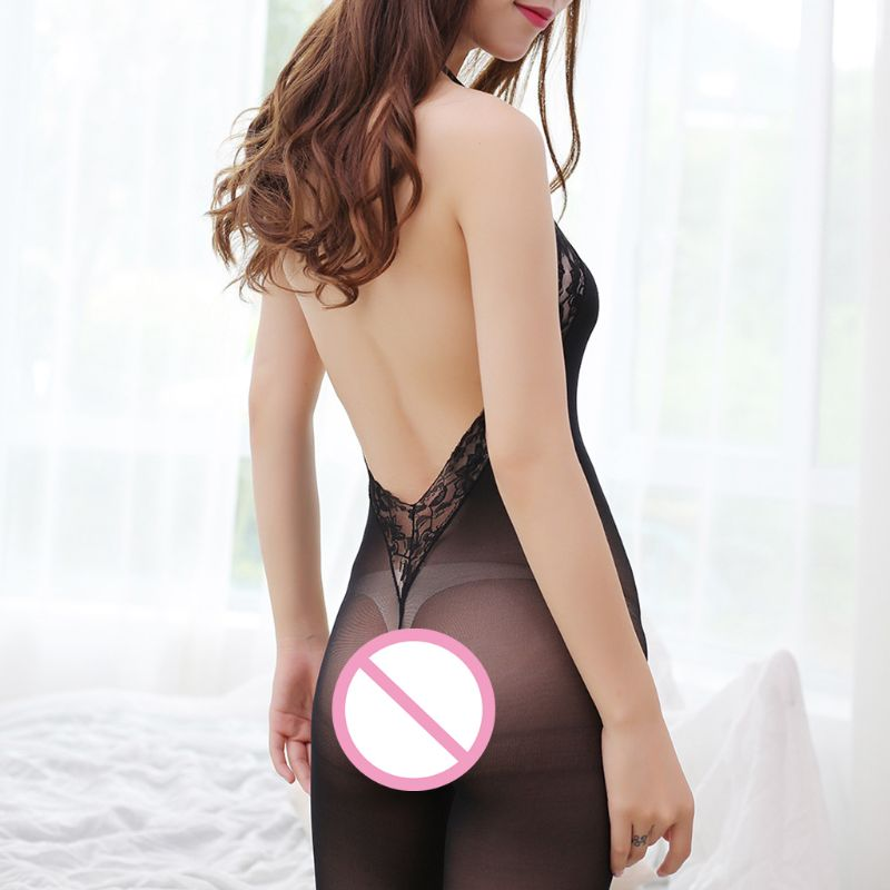 Women Sexy Bodysuit Crotchless Bodystocking Lace Floral Shee Burning Angel 1