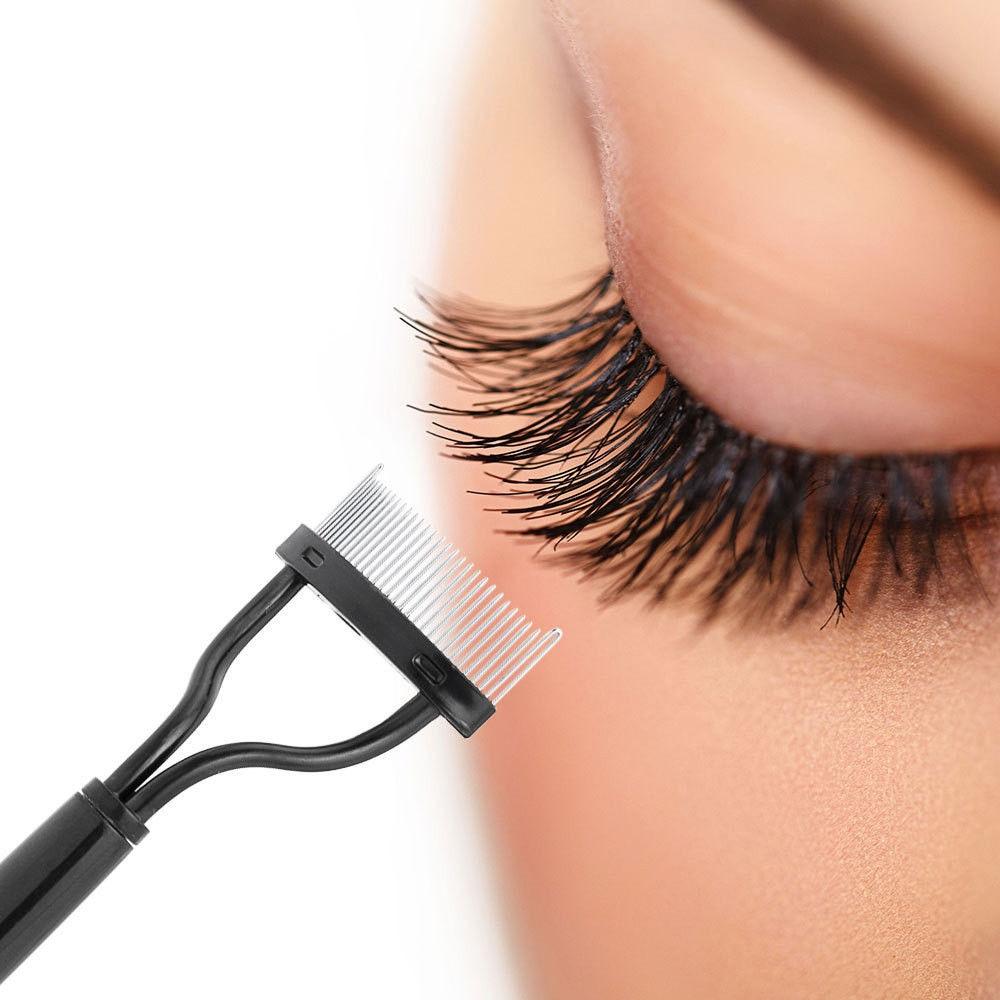 2019 rizador de pestañas belleza maquillaje para pestañas separador plegable de Metal cepillo de pestañas peine máscara rizo belleza maquillaje herramienta cosmética|rizador de pestañas|   - AliExpress