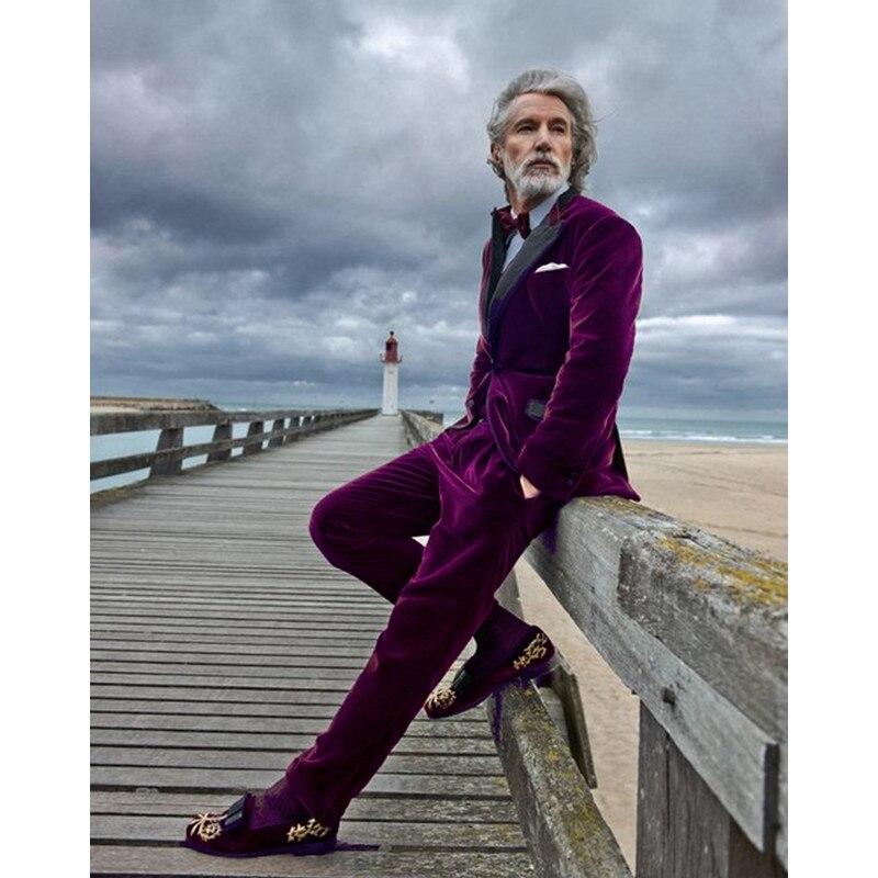 2017 Purple Velvet Slim Fit Men Suit Blazers Groomsmen Tuxedos Prom Casual Velour Mens Suits Wedding Groom Clothes(Jacket+Pants)