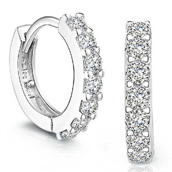 Silvering Plated Earrings Small Round Rhinestones Hoop Earrings Women's Fashion Jewelry