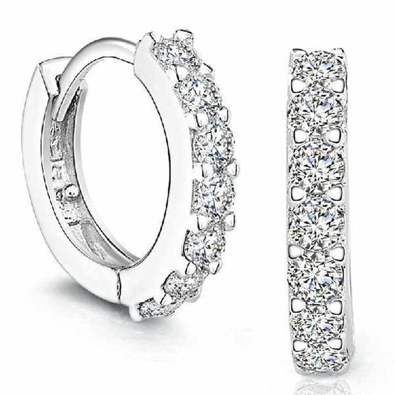 1 Pair Silvering Plated Huggies Earrings Small Round Rhinestones Hoop Earrings Women's Hot Fashion Jewelry Gifts Free Shipping