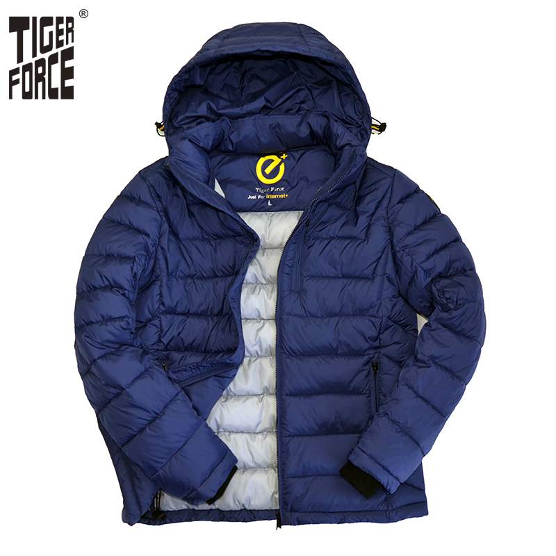 ФОТО TIGER FORCE 2017 New Men Cotton Padded Jacket Fashion Winter Polyester Coat Fashion Hooded Jacket European Free Shipping 71523N