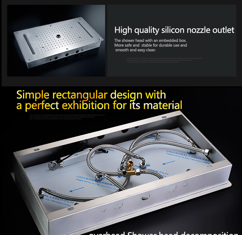 Luxury Shower Set Accessories Ceiling Multifunction Led Strip Shower Head Set with Rainfall Waterfall Spray Mist Water Column (24)