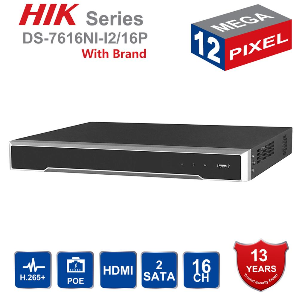 Original DS-7616NI-I2/16P English Version H.265 16 Channel NVR With 2SATA And 16 POE Ports HDMI VGA Plug & Play NVR POE 16ch VCA