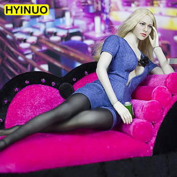 3 Colors 1/6 Scale Sexy slim Women  Denim Suit Sexy Black Stockings Clothes Clothing Suit Set Model for 12''Action Figure Body