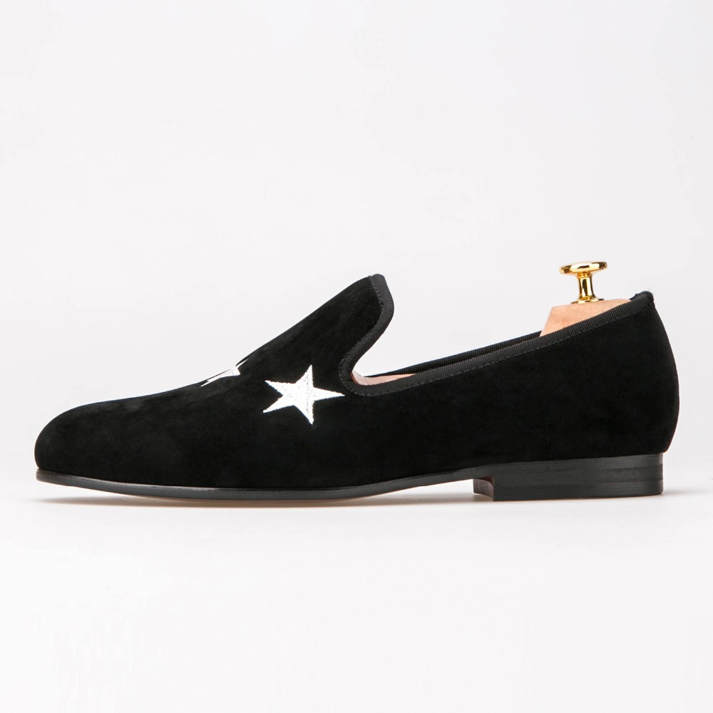 Men Handmade Black Velvet Slippers Loafers With Star wedding and party shoes mens dress shoes wedding shoes mens slip on dress shoes green velvet slippers fashion loafers custom shoes handmade free shipping size 7 14