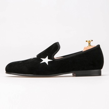 Men Handmade Black Velvet Slippers Loafers With Star wedding and party shoes mens dress shoes