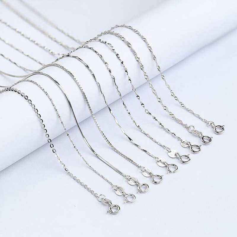 Klasik temel zincir 100% 925 ayar gümüş ıstakoz kanca kolye zinciri moda takı kadınlar için 40/45CM aperatif zincir YNC089