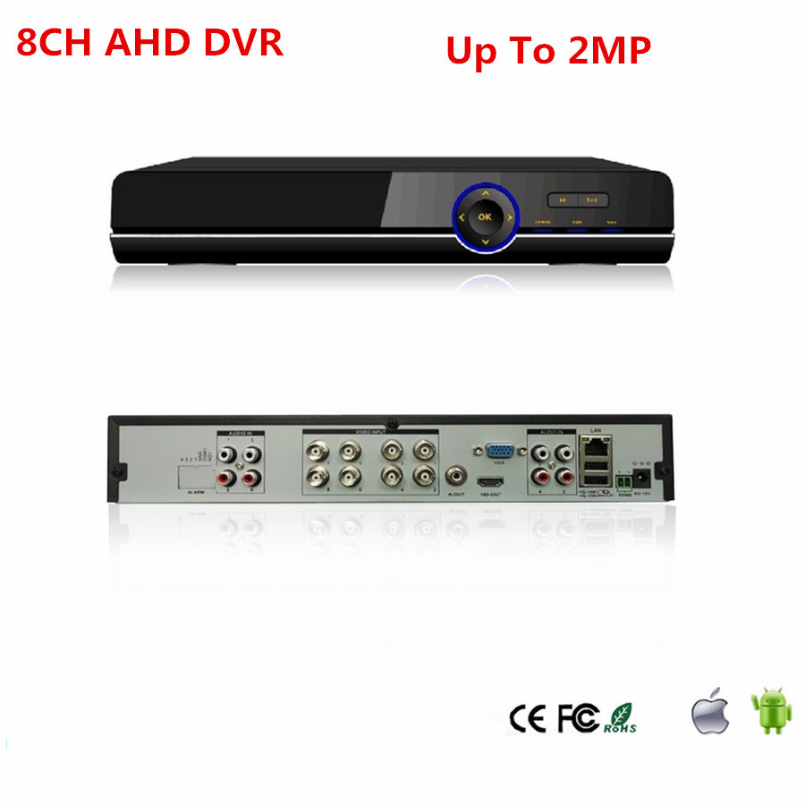 HD 8CH AHD TVI CVI DVR Recorder surveillance H.264 Up to 2MP 1 SATA Onvif HDMI VGA P2P for AHD Analog Camera Security System vemma acrylic minimalist modern led ceiling lamps kitchen bathroom bedroom balcony corridor lamp lighting study