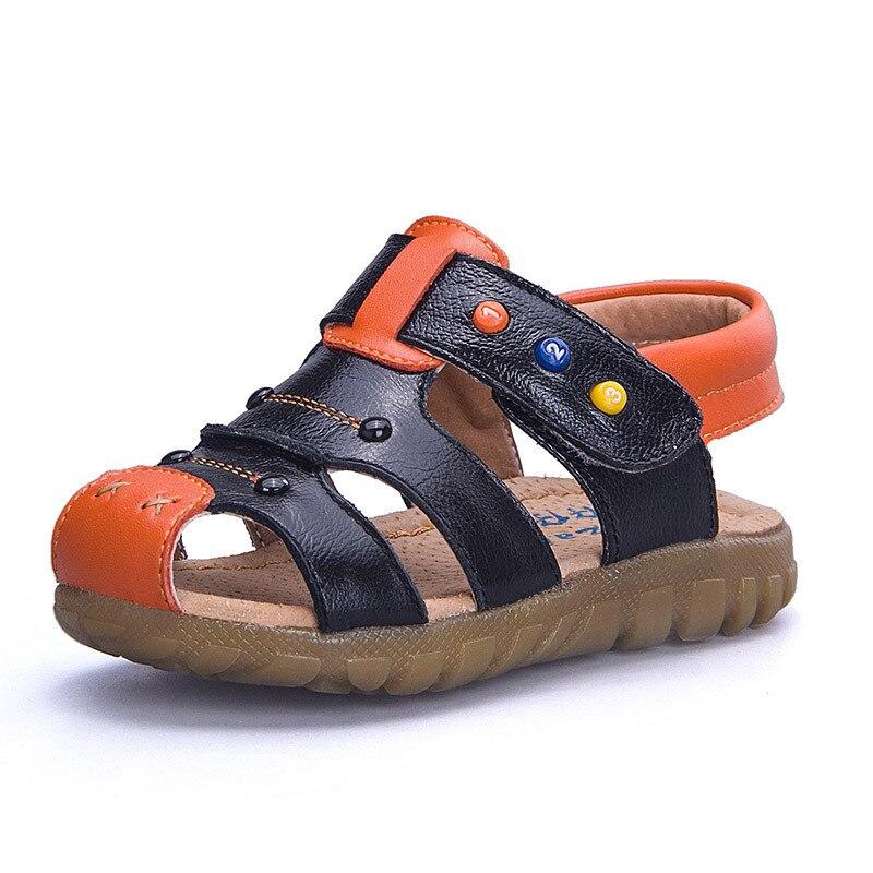 2018 New Kids Sandals Boys Summer Boys Sadals Children Shoes 1-10T Boys Summer Shoes Black Brown White Yellow Beach Sandals
