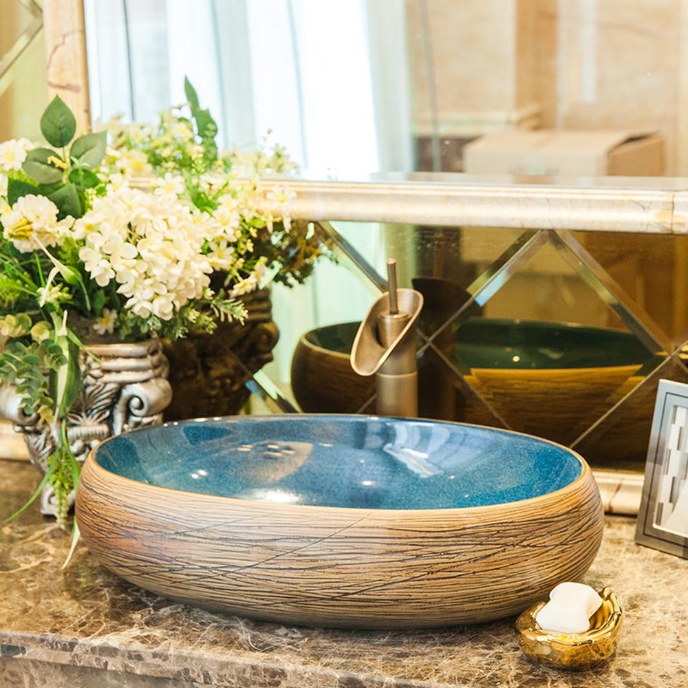 Bagno Americano retro lavabo in ceramica lavabo bacino di arte sopra il contro bacino lavabo LO619452Bagno Americano retro lavabo in ceramica lavabo bacino di arte sopra il contro bacino lavabo LO619452