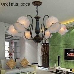 Europejski proste żelazny żyrandol salon restauracja sypialni lampy amerykański styl retro wsi żyrandol ze szkła darmowa wysyłka