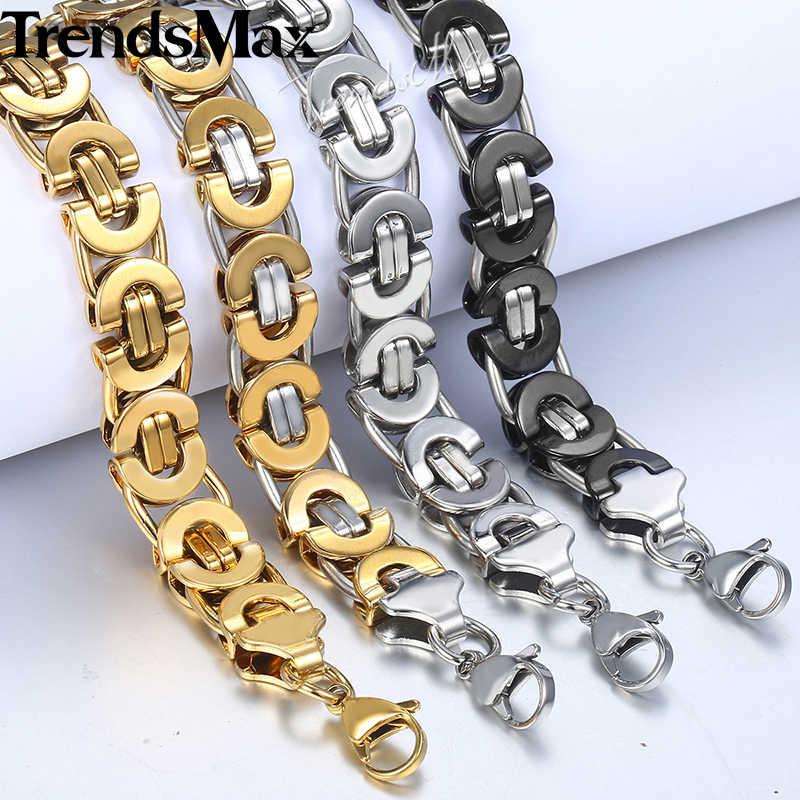 Męska bransoletka Hip Hop złoty bizantyjski Link Chain bransoletki ze stali nierdzewnej dla biżuteria męska hurtownie Dropshipping 11mm KBB3A