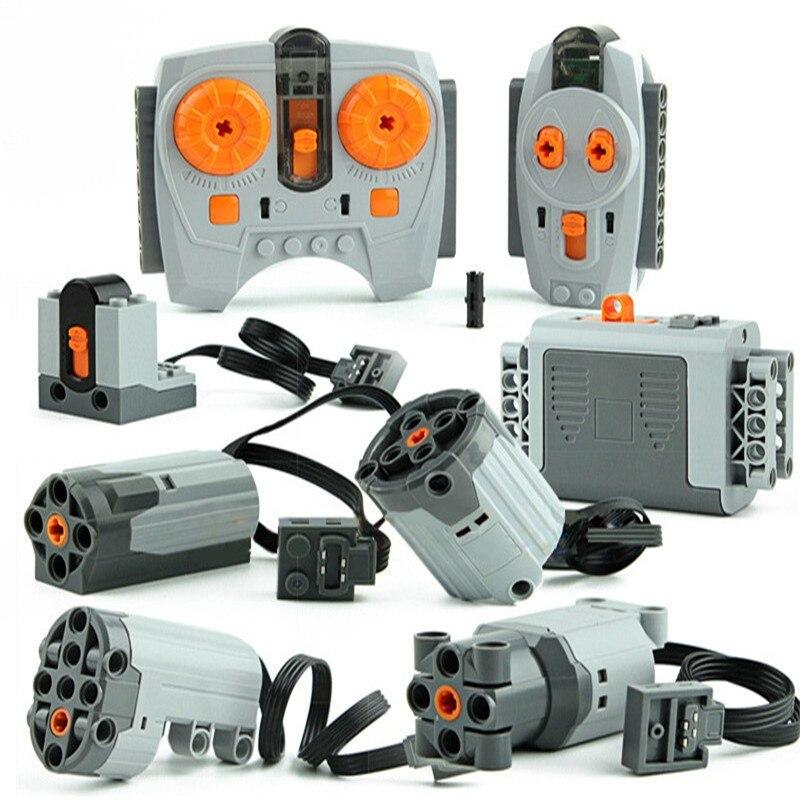 Technic Zug Motor Fernbedienung Empfänger LED Licht Batterie Box Power Funktionen technik Legoingly Power funktionen Blöcke Zubehör