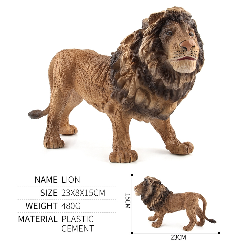 23x15cm 3D Simulation Model Lion Decoration Zoo Environmental Model Toys for Childrens Room Decoration Lions Christmas Gifts