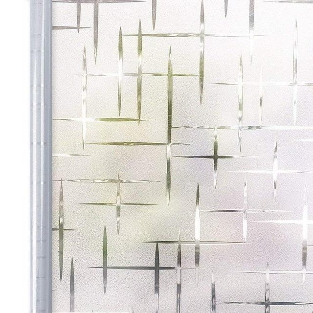 90*200 cm Privacy White Cross Self Adhesive Frosted Window Film, Static Cling Decorative Glass Window Sticker,UV Blocking Decals