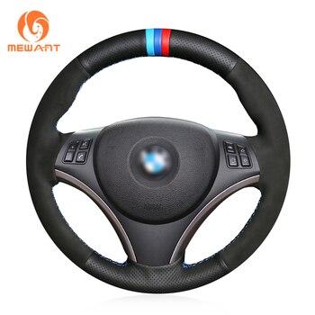 MEWANT Black Genuine Leather Black Suede Car Steering Wheel Cover for BMW E90 E91 E92 E93 E87 E81 E82 E88 X1 E84
