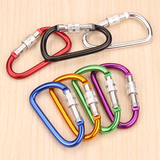 4 Per Pack Assorted Sizes Colors Jacent Aluminum Spring Loaded Carabiner Key Ring
