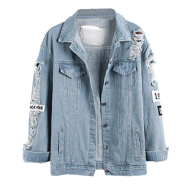 hot sale denim bomber jecket 2017 patch ripped pockets denim coat women casual summer S XL