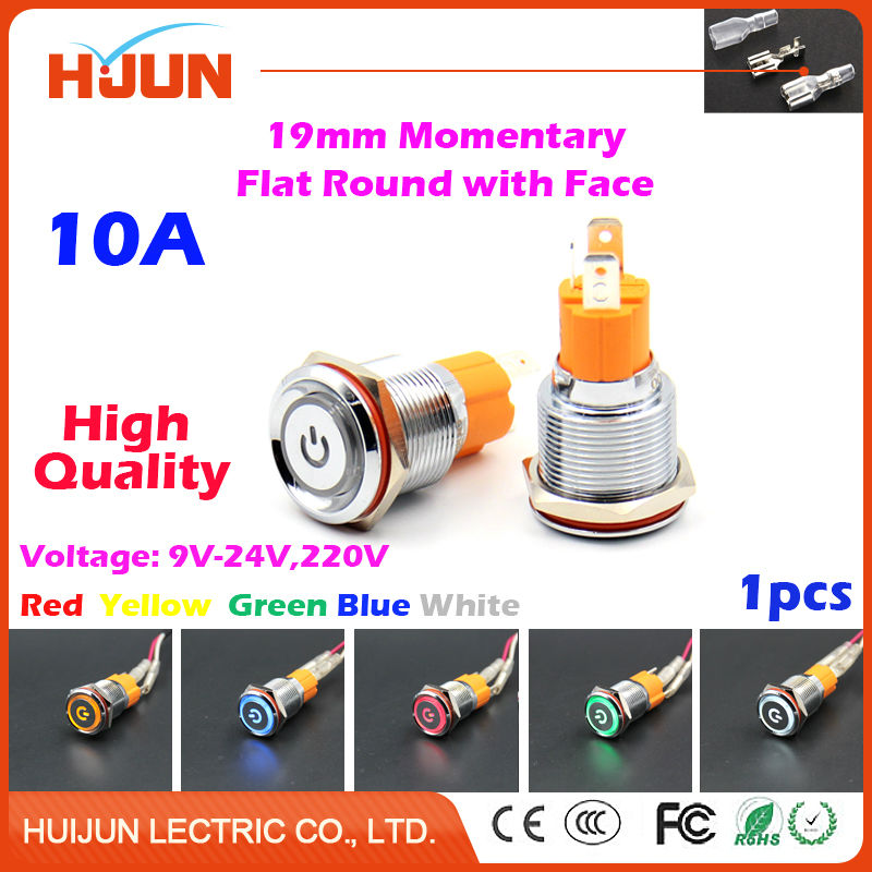 1pcs 19mm 10A Momentary Push Button Switch Face Waterproof Flat Round Stainless Steel Metal  LED Light Car Horn Auto Reset metal push button switch with light 16mm flat head self reset momentary 5v 12v 24v 220v push button waterproof led metal switch
