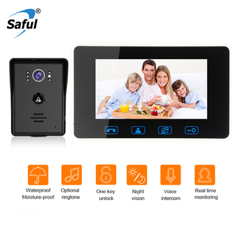 Saful 7'' TFT Color Wired Video Door Phone Waterproof Hand-free Smart  Doorbell Video Intercom with Unlock Function