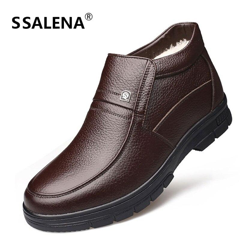 Estilo Masculino Inverno Alta Preto Marrom Boots Confortáveis Botas Couro D0459 marrom Pai Homens Preto Peles Sapatos Presente Quentes De Top Britânico Ankle OY0Wq7Zz6