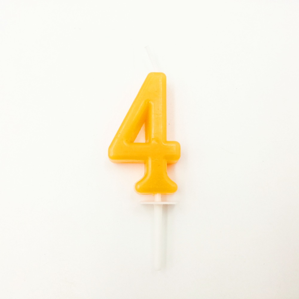 Four Yellow Candle Kids Baby Birthday Anniversary Cake Numbers Age Party Supplies Decoration Number 4