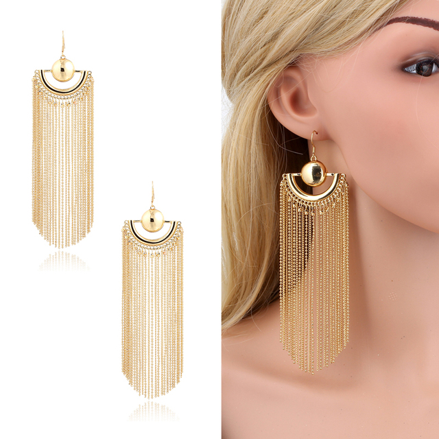 Gold plated long chain bead tassel chandelier drop dangle earrings gold plated long chain bead tassel chandelier drop dangle earrings for women big large maxi bohemia aloadofball Image collections