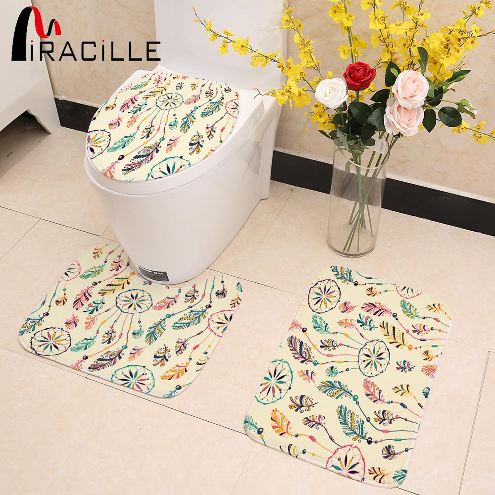 Miracille 3 Pcs Coral Fleece Toilet Mat Set Dreamcatcher Printed Soft Toilet Seat Cover Anti Slip Bath Floor Mat New Year Decor