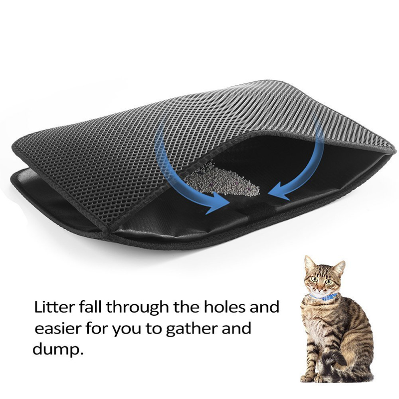 Pets Dog Cat Litter Mat Double-Layer EVA Waterproof Cat Catcher Catch Mat Trapper Pad Smooth Surface Breathable Holes Kitty Bed5