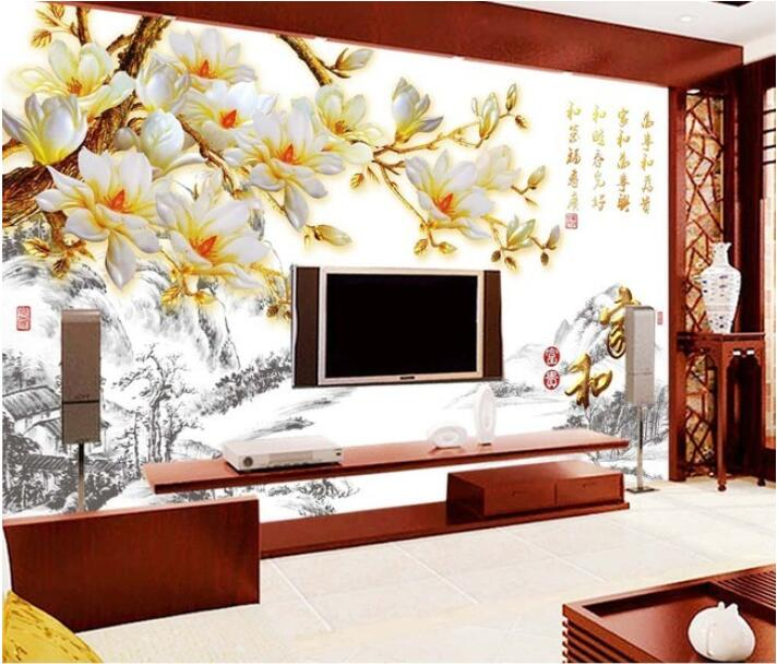 3d wallpaper custom mural non woven wall sticker magnolia for Chinese wall mural