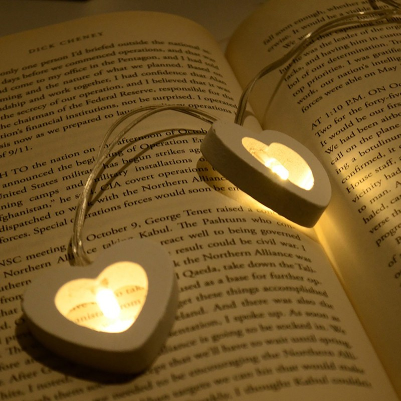 Romantic Wood Heart 1M 10 LED String Light Lámpara de San Valentín - Iluminación de vacaciones - foto 6