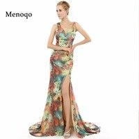 2017 Real Photo Spezielle anlässe Formal Prom Dresses lange Mermaid Side Split Blumenmuster Blumendruck Chiffon Abendkleid