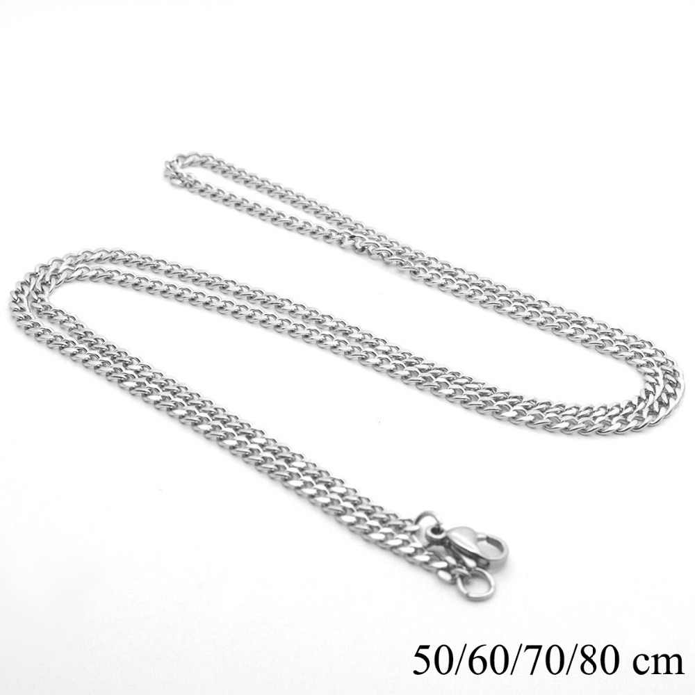 Wholesale (3 pcs/lot) 50/60/70/80 cm Titanium steel White Gold Color Long Chain Necklaces for Men Fashion Jewlery No Fade 3 mm