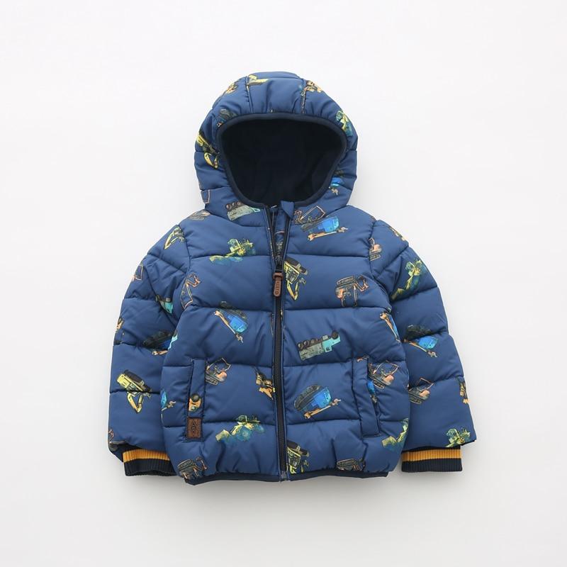 children/kids/boys autumn/winter padded jacket, fleece lining coat with cool xcavator print
