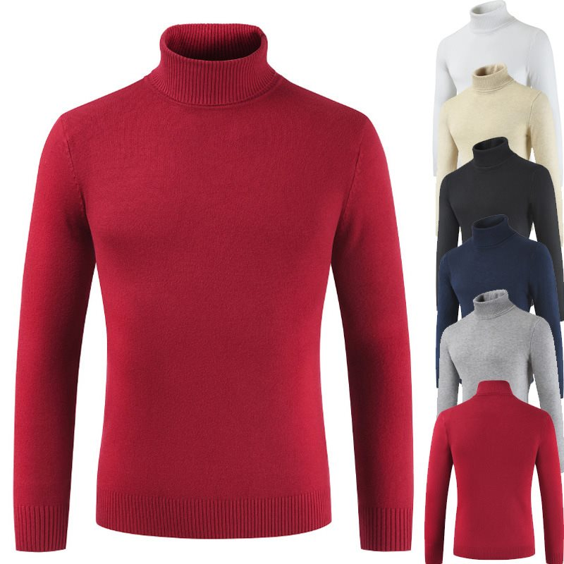 Men's Sweater Turtleneck Winter Pullovers Slim-Fit Knitted Autumn Male Casual Fashion