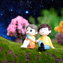2pc Romantic Lover Figurines Boy Girl Wedding Doll Miniatures Couple Fairy home Garden Decoration mariage toy DIY accessories