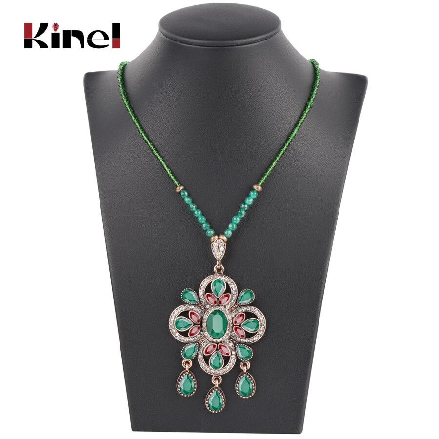 Kinel-collar con colgante étnico bohemio para mujer, cuentas de cristal hechas a mano, collar de joyería, regalo de boda india
