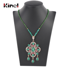 Kinel Boho Ethnic Pendant Necklace For Women Handmade Beading Crystal Big Drop Indian Jewelry Wedding Bridal Gift