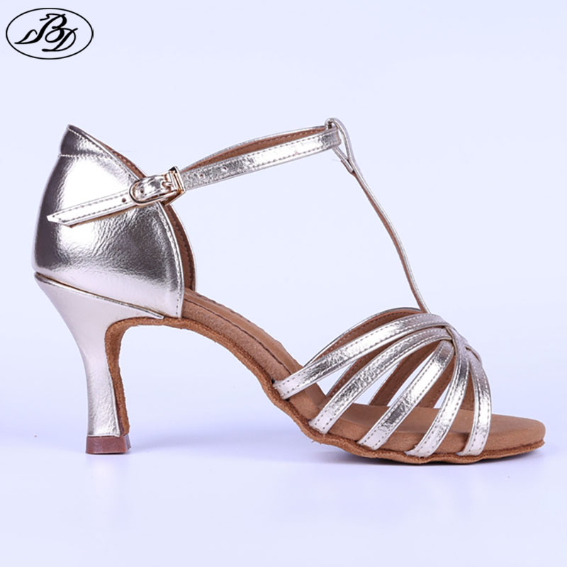 Femmes Chaussures De Danse Latine BD 217 Ruban D'or Napper Semelle En Cuir Dames Salsa Salle De Bal Danse Chaussures Sandale Danse Sportive Brillant