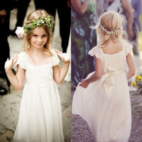 Boho White Ivory Lace Flower Girl Dresses 2019 Cap Sleeves Chiffon Girls Formal Pageant Birthday Dresses First Communion Gown