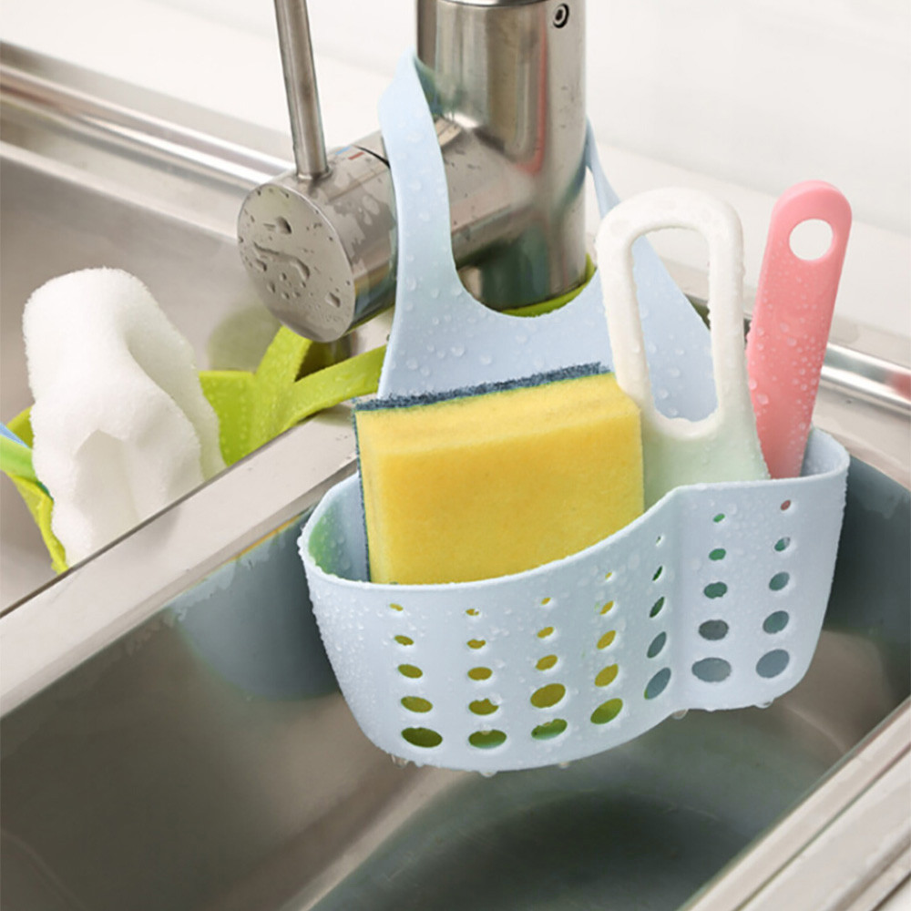 Portable Home Kitchen Hanging  Bag Basket Bath Storage Tools Sink Holder Sponge Washcloth Drain Rack Detachable