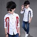 2017 Nueva Primavera Otoño Muchachos de la Manga Larga Blusas Transpirable 100% algodón Niños Camisetas Niños 4 a 15 Años Los Niños Camisetas Niños camisas