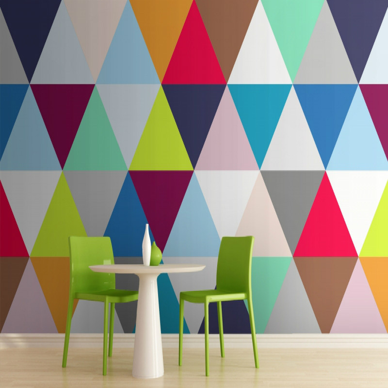 3d papier peint pour les murs 3d r sistant l 39 humidit de papier peint multicolore triangles. Black Bedroom Furniture Sets. Home Design Ideas
