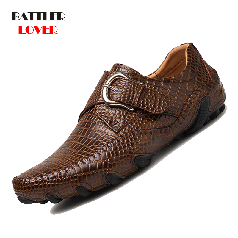 Crocodile Leather 2019 New Men Flat Shoes Men Soft Split Leather Male Moccasin Driving Loafers Shoes Mens Casual Punk Homme Shoe